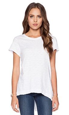 Wilt Slub Jersey Short Sleeve Asymmetrical Slouchy Tunic in Standard White