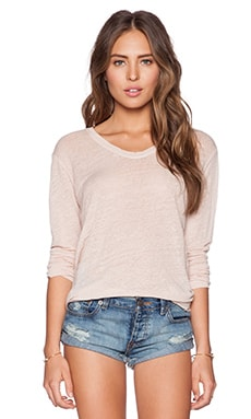 Wilt Lux Slub Long Sleeve Easy Tee in Grapefruit