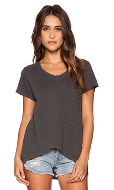 Wilt Slub Jersey Slouchy V Pocket Tee in Distressed Black