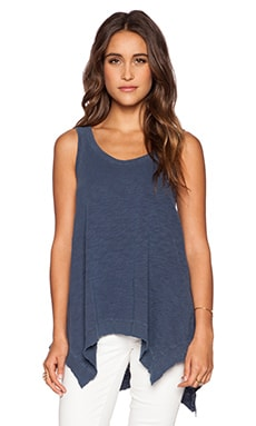 Wilt Slub Double Scoop Flutter Tank in Distressed Storm