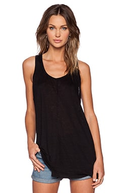 Wilt Lux Slub Shifted Slouchy Tank in Black