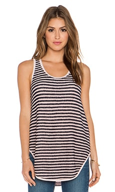 Wilt Loopy Stripe Shirtail tank in Navy & Frost