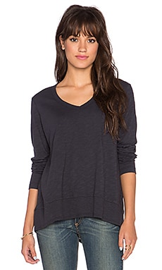 Wilt V Neck Baby Hi Lo Long Sleeve Tee in Twilight
