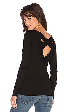 Wilt Cross Back Long Sleeve Rib Tee in Black