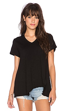 Wilt Shrunken Shifted Deep V Tee in Black