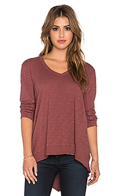 Wilt Long Sleeve V Neck Big Backslant Tee in Mulberry