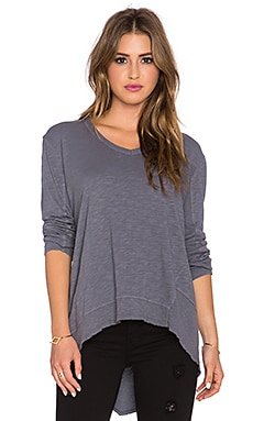 Wilt Long Sleeve V Neck Big Backslant Tee in Twisted Lilac