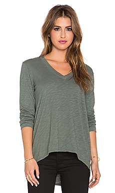 Wilt Shrunken Boyfriend Deep V Long Sleeve Tee in Surplus
