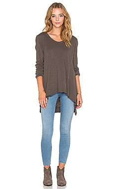 Wilt Mixed Panel Tunic Tee in Muddy Charcoal