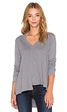 Wilt Shrunken Shifted Deep V Long Sleeve Tee in Steel