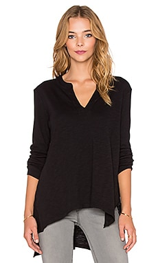 Wilt Long Sleeve Split Neck Gusset Tee in Black