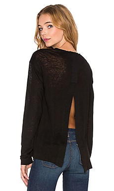 Wilt Slouchy Split Back Tee in Black