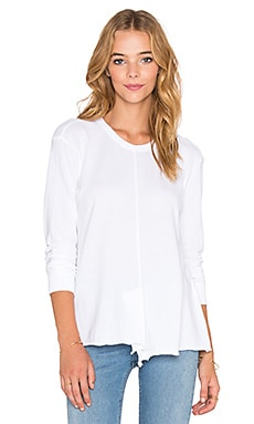 Wilt Unfinished Slouchy Shifted Long Sleeve Tee in White