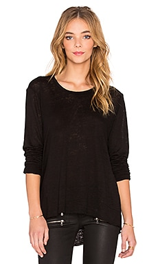 Wilt Lux Slub Raw Baby Backslant Tee in Black