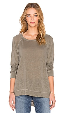 Wilt Lux Slub Shrunken Raglan V Back Long Sleeve Tee in Drab