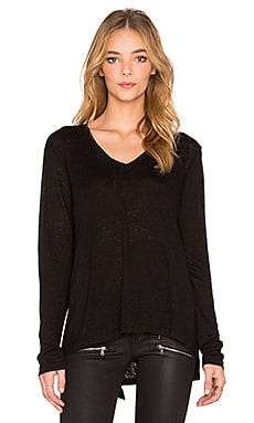 Lux Slub Shrunken Shifted V Neck Long Sleeve Tee in Black