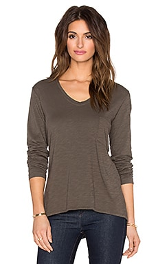 Wilt Slub Long Sleeve Pocket Tee in Swamp