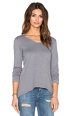 Wilt Slub Long Sleeve Shrunken Boyfriend Tee in Iron
