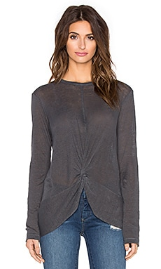 Wilt Lux Slub Twist Front Long Sleeve Tee in Slate