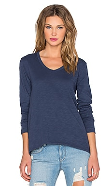 Wilt Slub Long Sleeve Shrunken Boyfriend Tee in Indigo