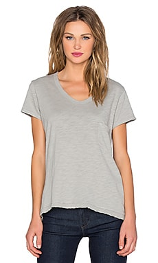Wilt Slub Short Sleeve Slouchy Shifted V Neck Tee in Fennel