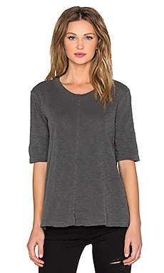 Wilt Slub Elbow Sleeve Trapeze Tee in Distressed Black