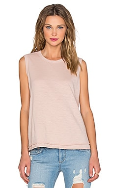 Wilt Slub Trapeze Shell Crew Neck Tank in Putty