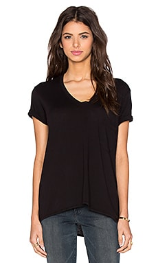 Wilt Pima Short Sleeve Vintage V Neck Tee in Black