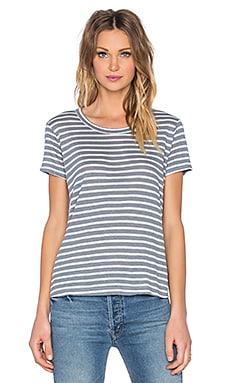 Shadow Stripe Baby Tee in Uniform & White
