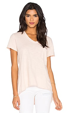 Wilt Slub Short Sleeve Vintage V Neck Tee in Pink