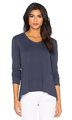 Slub Long Sleeve Shrunken Boyfriend Top in Aviator