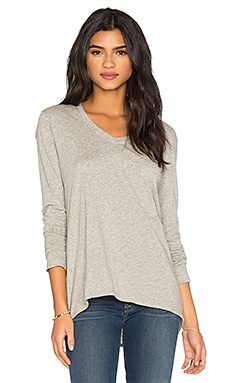 Pima Long Sleeve Vintage V Neck Top in Grey Heather