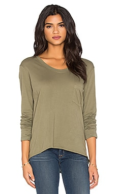 Pima Long Sleeve Vintage V Neck Top in Swampy