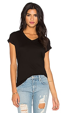 Pima Short Sleeve Baby V Neck Tee in Black
