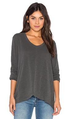 Slub Drama Long Sleeve Top in Distressed Black