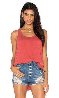 Wilt Slub Shrunken Shirttail Tank in Cherry