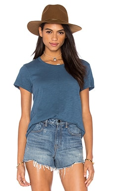 Slub Short Sleeve V Front Tunic in Tractor