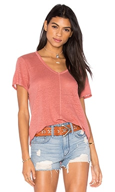 Lux Slub Shrunken Deep V Tee in Cinnamon