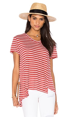 Wilt Shadow Stripe V Neck Easy Tee in Cherry