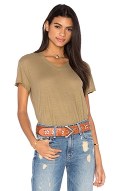 Wilt Cotton Jersey V Neck Baby Tee in Dirty Khaki