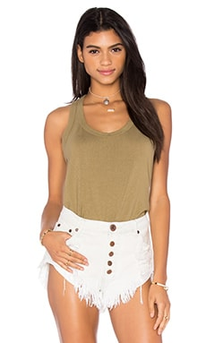 Wilt Lux Cotton Mock Layer Tank in Dirty Khaki