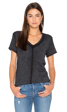 Slub V Neck Trapeze Tee in Black