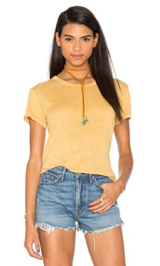 Lux Slub Easy V Hem Tee en Maize