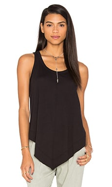 Pima Shrunken V Hem Tank in Black
