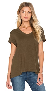 Slub Roll Sleeve Baby V Neck Tee in Army