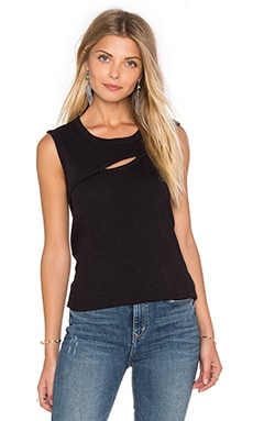 Slub Cutout Front Muscle Tank in Black