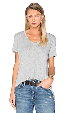 Pima Vintage Pocket V Neck Tee en Gris Chiné