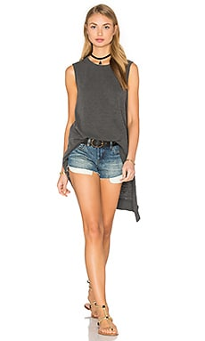 Slub Layered Slant Hem Tunic en Distressed Black
