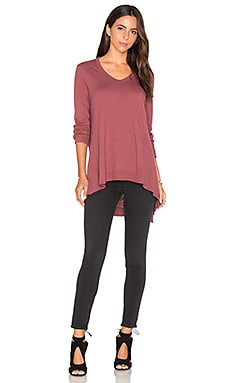 Wilt Mixed Panel Tunic Top in Mulberry