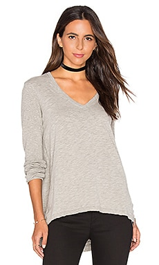 V Neck Side Slit Tunic Top en Gris Chiné